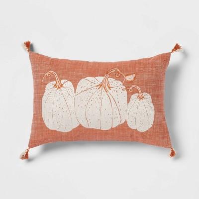 Embroidered Pumpkins Lumbar Throw Pillow Orange - Threshold™