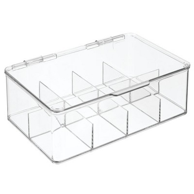 mDesign Stackable Plastic Tea Bag Organizer Kitchen Storage Box