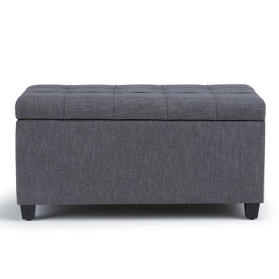 "34"" Marlowe Storage Ottoman Bench Linen Look Fabric - Wyndenhall : Target"