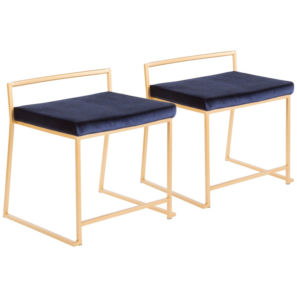 Set of 2 Fuji Contemporary Glam Stackable Dining Chair Blue Velvet - LumiSource