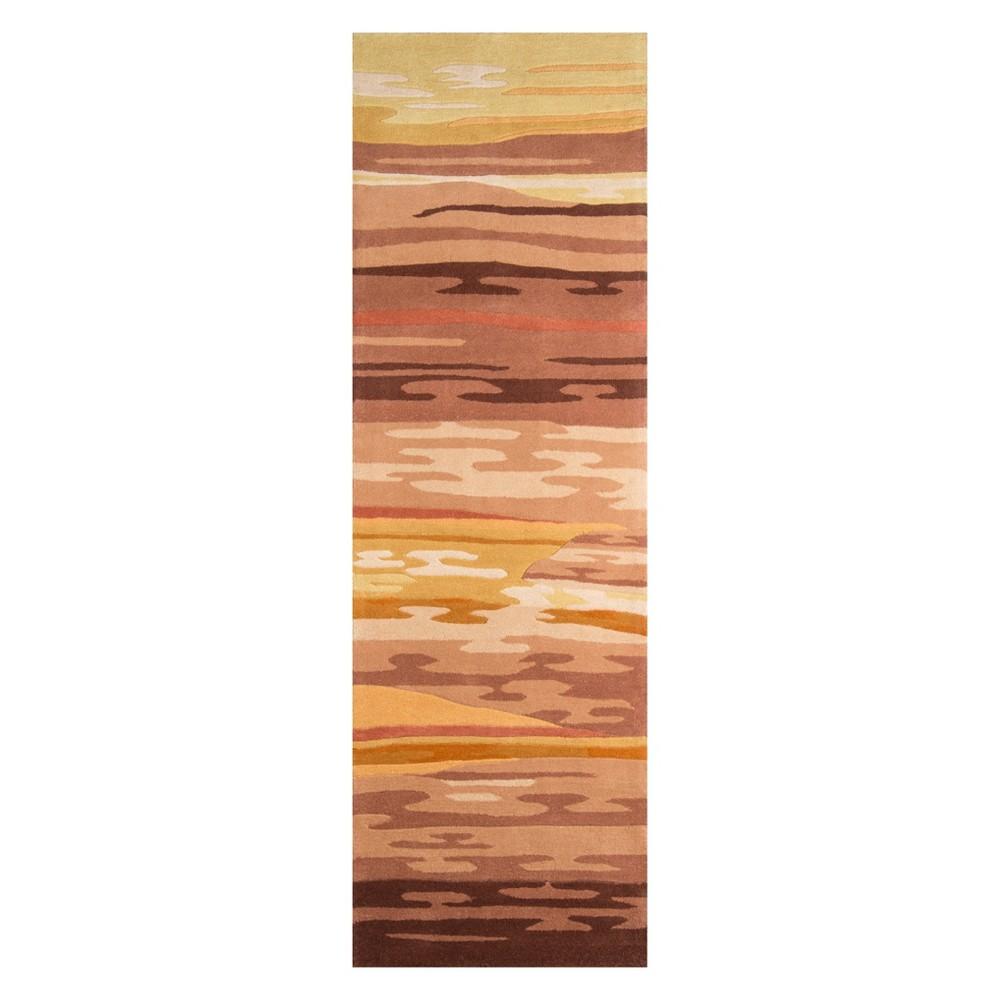 2'6X12' Geometric Tufted Runner Sand (Brown) - Momeni