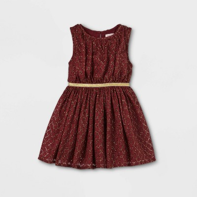 Toddler Girls' Sparkle Lace Tank Dress - Cat & Jack™ Burgundy