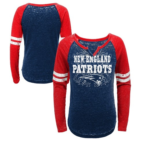 907f63c7756 NFL New England Patriots Girls  Fashion Team Alt Color Burnout Long Sleeve T -Shirt   Target