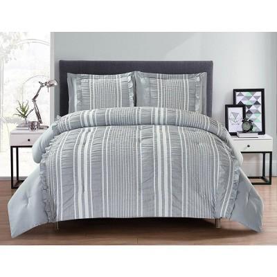 Lily NY Cationic Ruffle Seersucker Comforter 3PC set