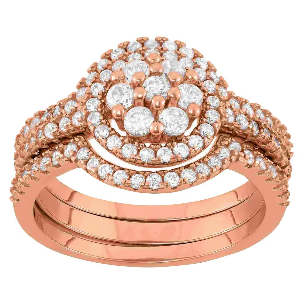 0.9 CT. T.W. 3-Piece Multi Round Cubic Zirconia Ring Set In 14K Gold Over Silver - (8), Girl's, Rose