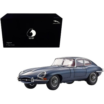 """Jaguar E-Type Coupe (RHD) Dark Blue Met. w/Red Interior """"E-Type 60th Anniversary"""" (1961-2021) 1/18 Diecast Model Car by Kyosho"""
