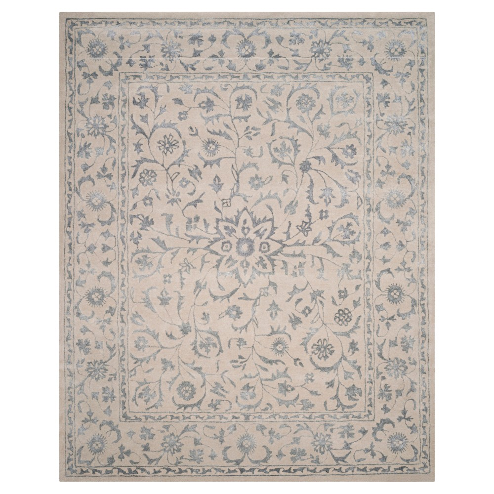 Silver/Ivory Botanical Loomed Area Rug - (9'X12') - Safavieh, White Silver