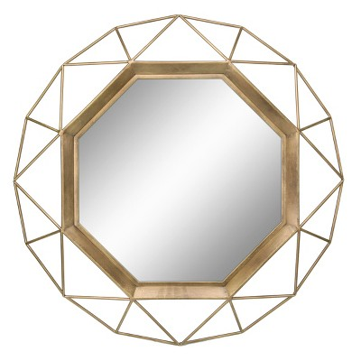 "28.3"" x 28.3"" Metal Octagon Mirror Antique Gold - Stonebriar Collection"