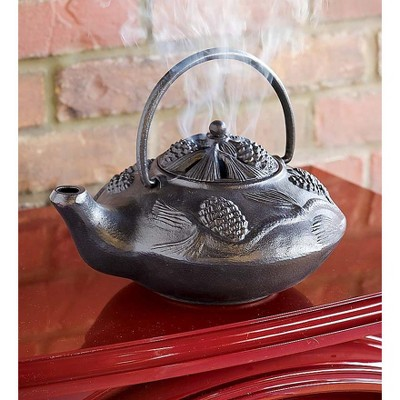 Plow & Hearth - Cast Iron Pine Cone Design Wood Stove Steamer Kettle / Humidifier, Black
