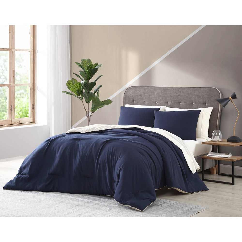 Twin 5pc Arica Enzyme Washed Comforter Set Navy Taupe Geneva Home Fashion