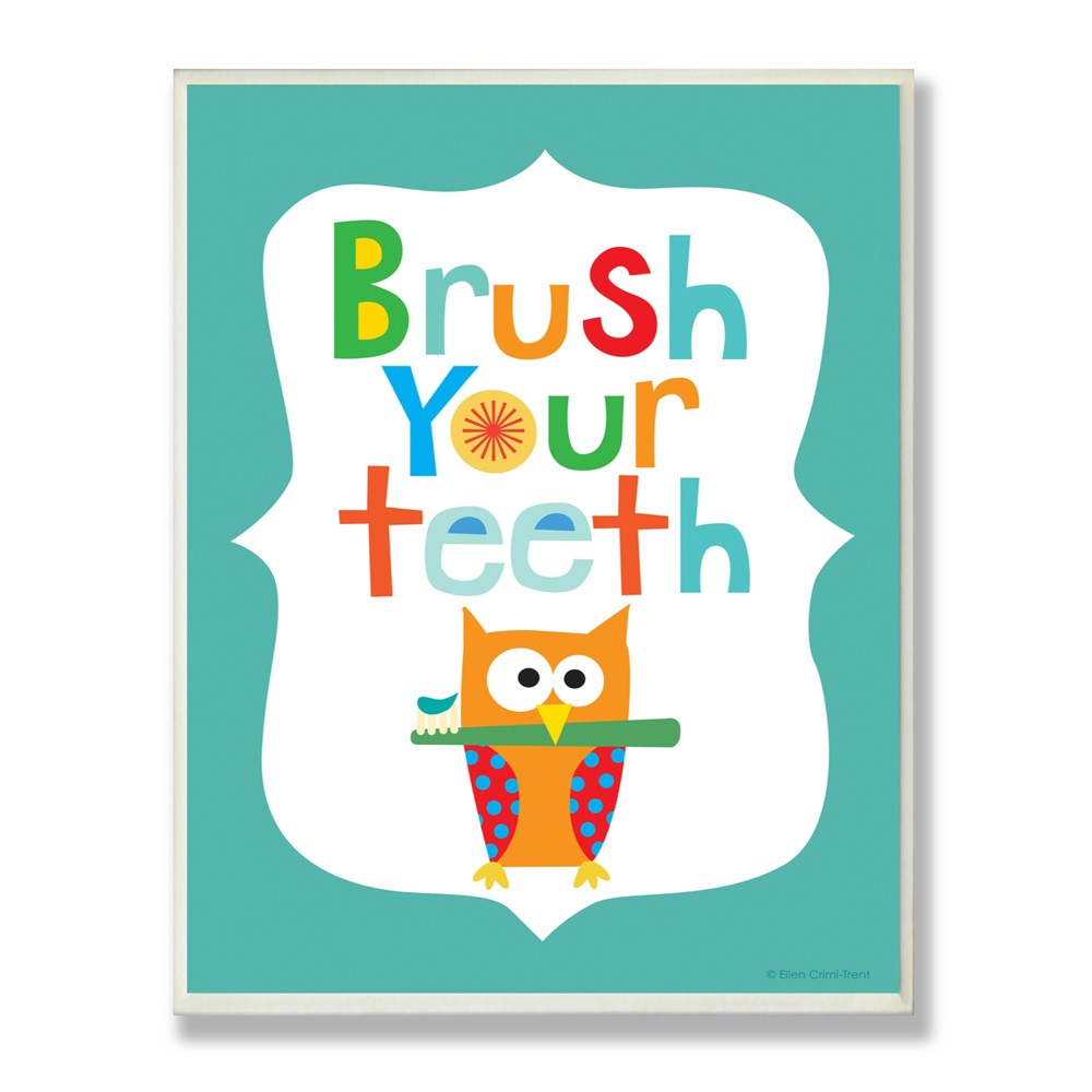 Brush Your Teeth With Owl On Blue Background Wall Plaque Art (12.5x18.5