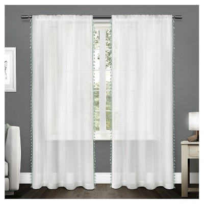 Set of 2 Tassels Sheer Rod Pocket Window Curtain Panel - Exclusive Home