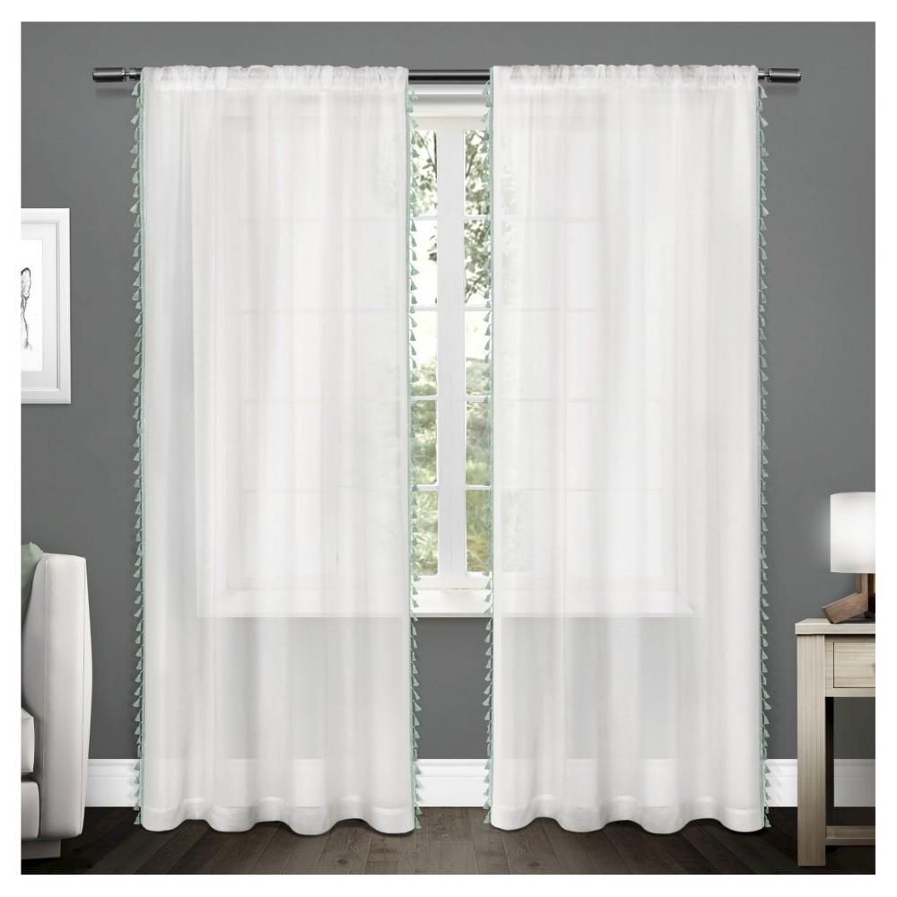 Tassels Textured Sheer Bordered Tassel Applique Rod Pocket Window Curtain Panel Pair Seafoam (54