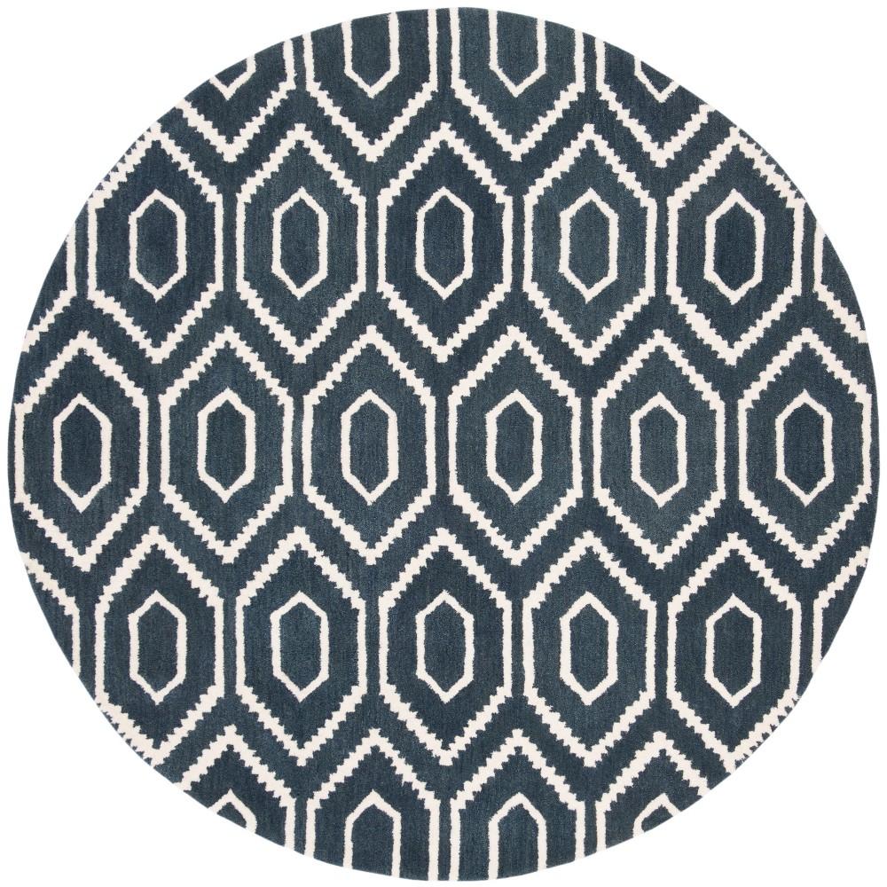 6 Geometric Tufted Round Area Rug Navy/Ivory - Safavieh Discounts