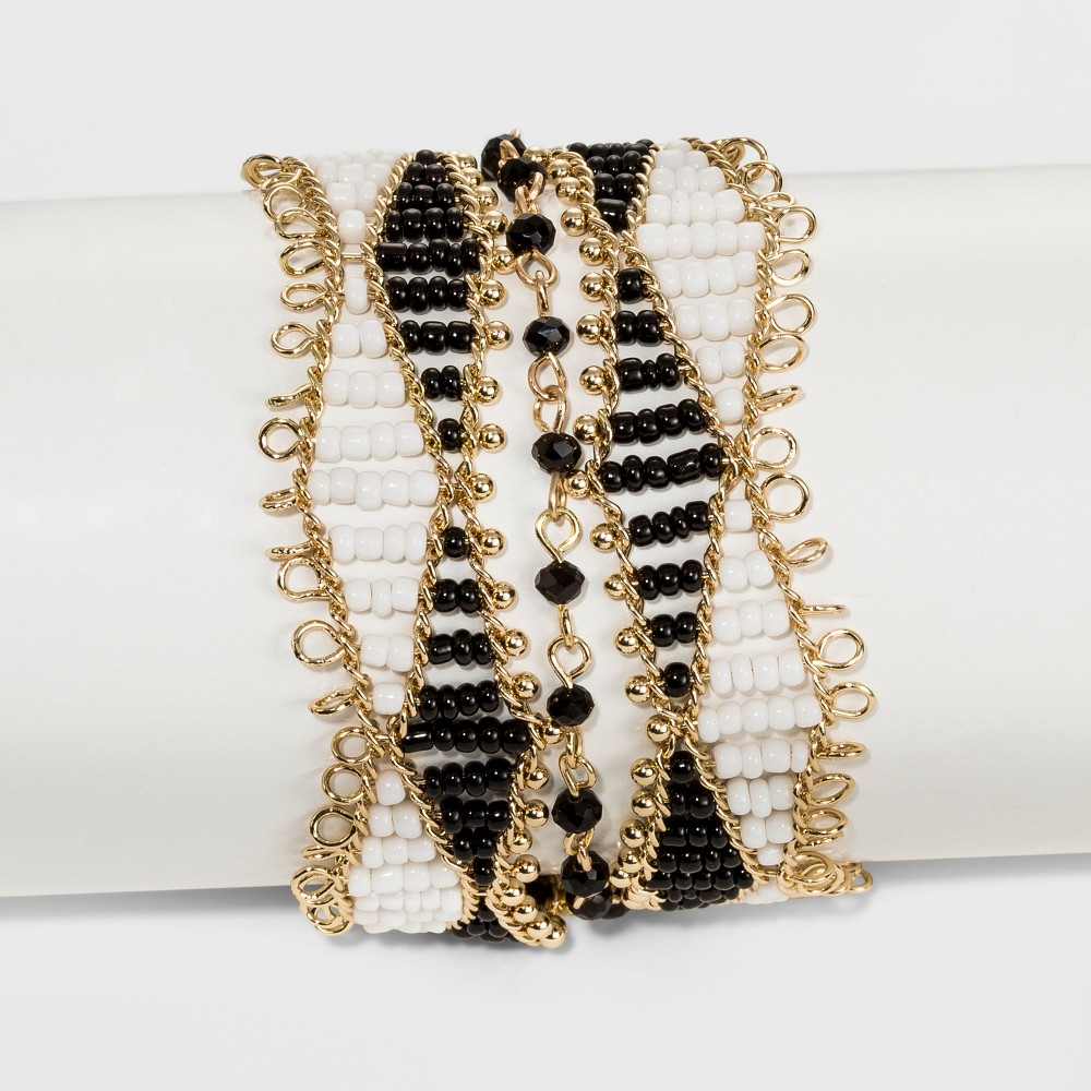 Image of Beaded Seedbead Bracelet - A New Day Gold/Black/White, Women's, Size: Small, White Gold Black