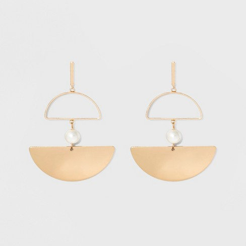Geometric Shapes and Simulated Pearl Drop Earrings - A New Day™ Gold - image 1 of 2