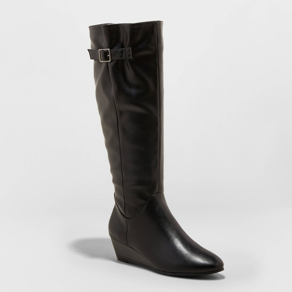 Image of Women's Blinda Faux Leather Wedge Riding Boots - A New Day Black 10