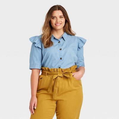 Women's Ruffle Elbow Sleeve Button-Down Shirt - Who What Wear™