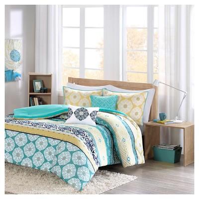 Teal & Yellow Aneesa Global Print Comforter Set