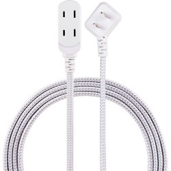 Cordinate 8' 3 Outlet Polarized Extension Cord Gray/White