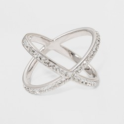 Silver Plated Large X Crystal Ring - A New Day™ Silver
