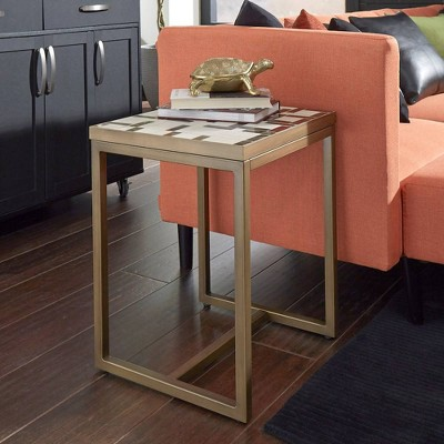 Geometric II End Table Brushed Brass - Home Styles