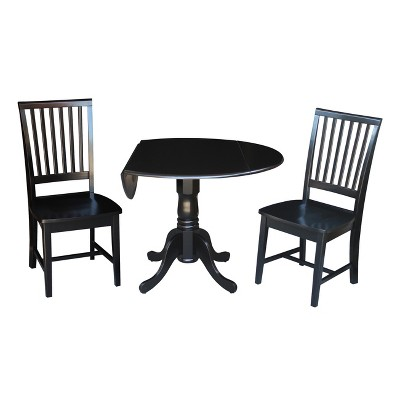 """Set of 3 42"""" Dual  Table with 2 Mission Chairs Dining Sets Black - International Concepts"""