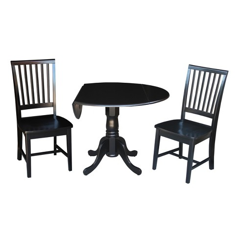 """42"""" Set of 3 Dual Drop Leaf Table with 2 Mission Chairs Black - International Concepts - image 1 of 4"""