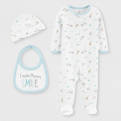 Baby Boys' 3pc Footed Sleepers - Just One You® made by carter's White Newborn