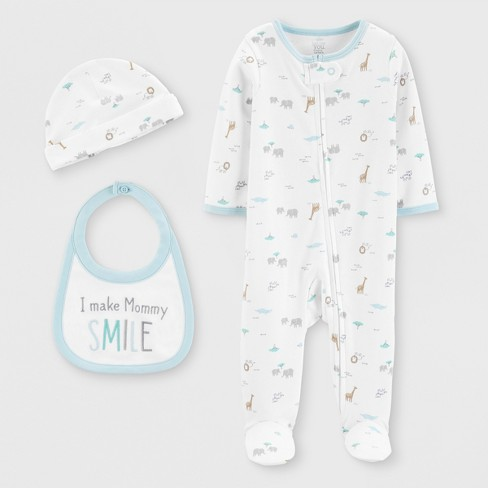 Baby Boys' 3pc Footed Sleepers - Just One You® made by carter's White - image 1 of 1