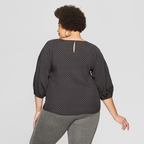 5a0f316f1b744 Women s Plus Size Polka Dot 3 4 Sleeve Pleated Blouse - Ava   Viv™ Black    Target