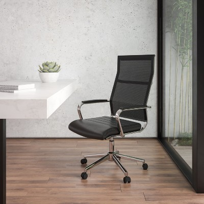 Flash Furniture High Back Black Mesh Contemporary Executive Swivel Office Chair with LeatherSoft Seat