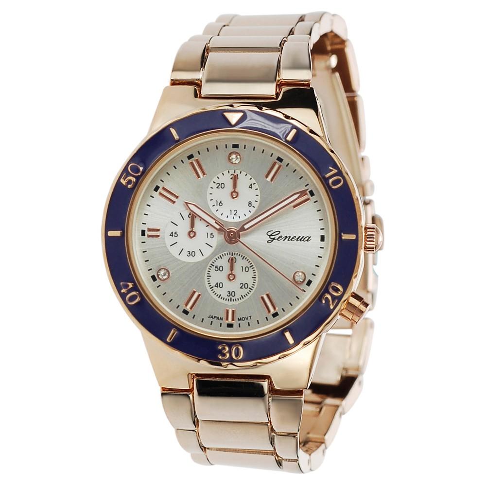 Women's Geneva Platinum Rhinestone Accent Color Pop Link Watch - Purple/Rose Gold