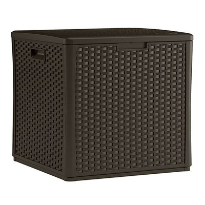 Suncast 60 Gallon Outdoor Storage Resin Wicker Design Cube Shape Patio Deck Box