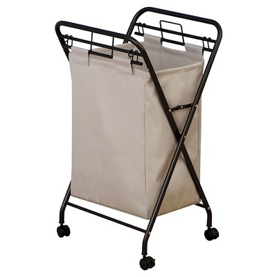 Household Essentials Rolling Laundry Hamper Removable Canvas Bag Antique Bronze