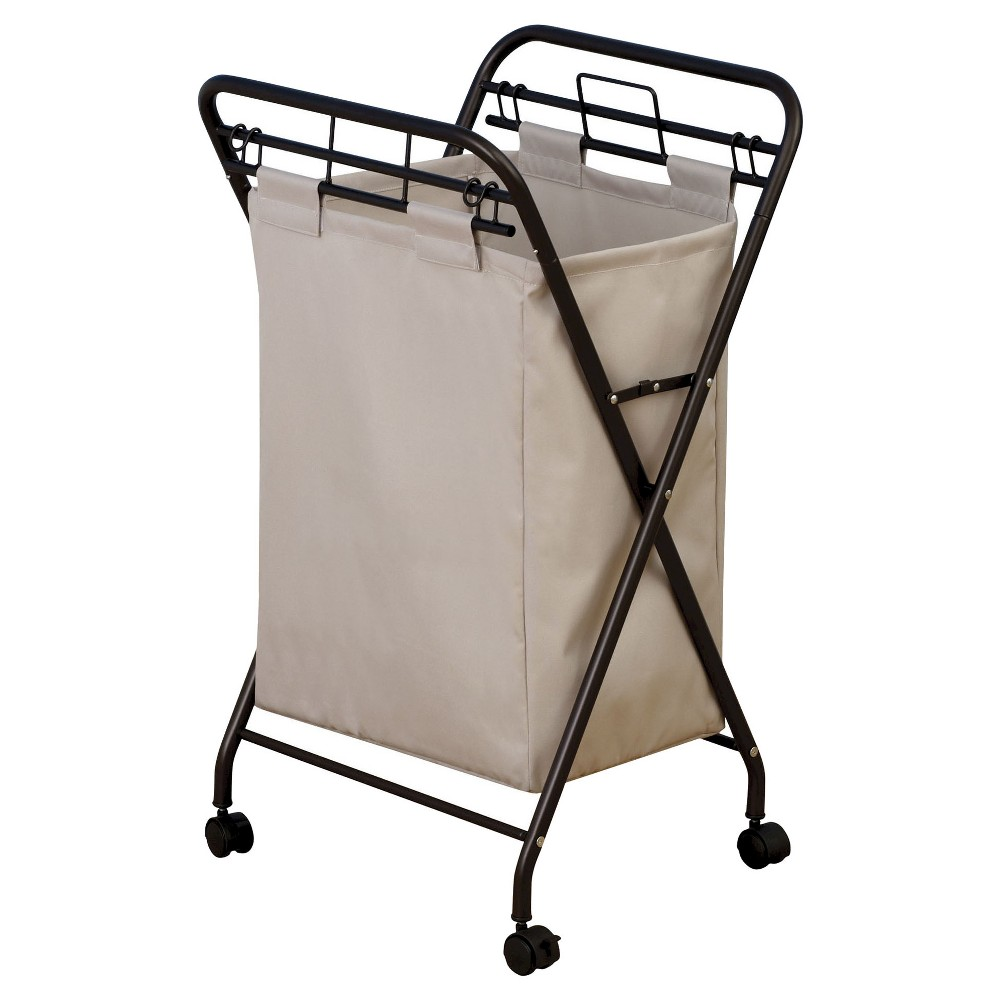 Household Essentials - Rolling Laundry Hamper - Removable Canvas Bag - Antique Bronze, Brown