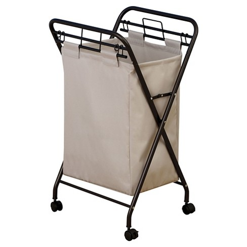 Household Essentials Rolling Laundry Hamper Removable Canvas Bag Antique Bronze