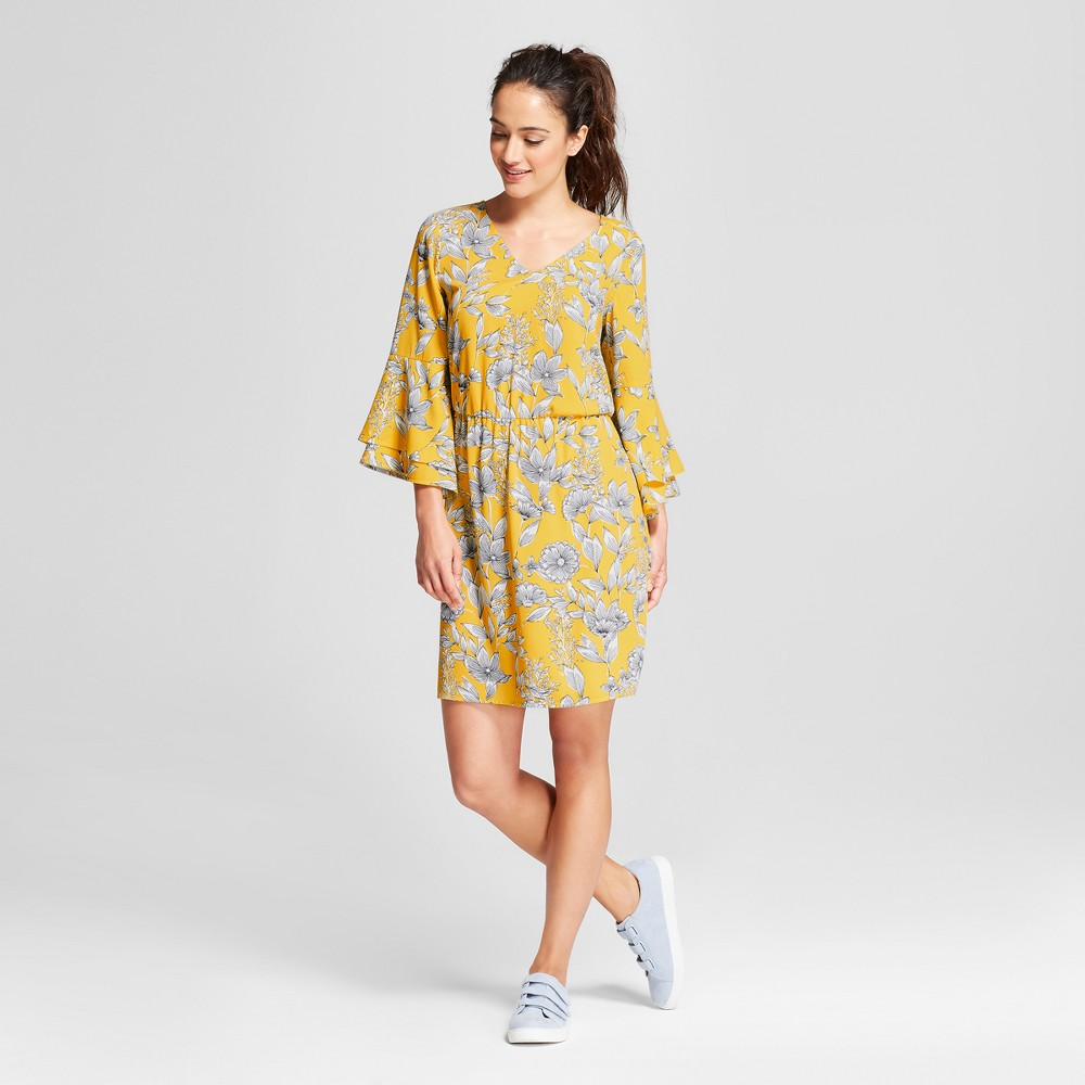 Women's Floral Tiered Bell Sleeve Dress - A New Day Yellow S