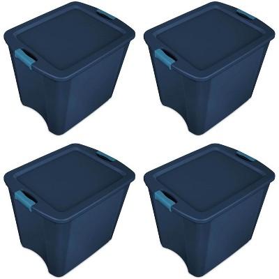 Sterilite 26 Gallon Latch and Carry Storage Tote, True Blue (4 Pack) | 14487404
