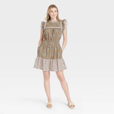 Women's Flutter Sleeveless Dress - Universal Thread™ Floral