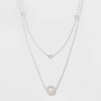 Sterling Silver with Freshwater Pearl Duo Necklace Set - A New Day™ Silver