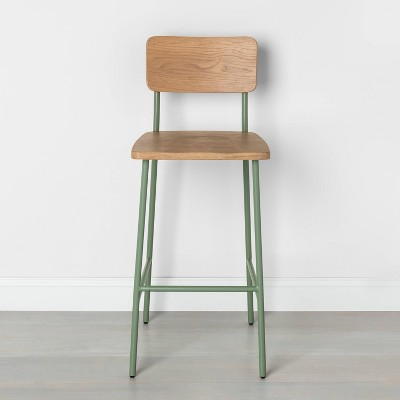 Wood & Steel Bar Stool Green - Hearth & Hand™ with Magnolia