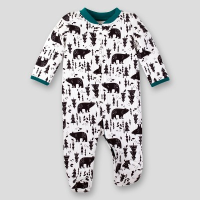 Lamaze Baby Boys' Organic Bear Print Thermal Sleep 'N Play - Off White 6M