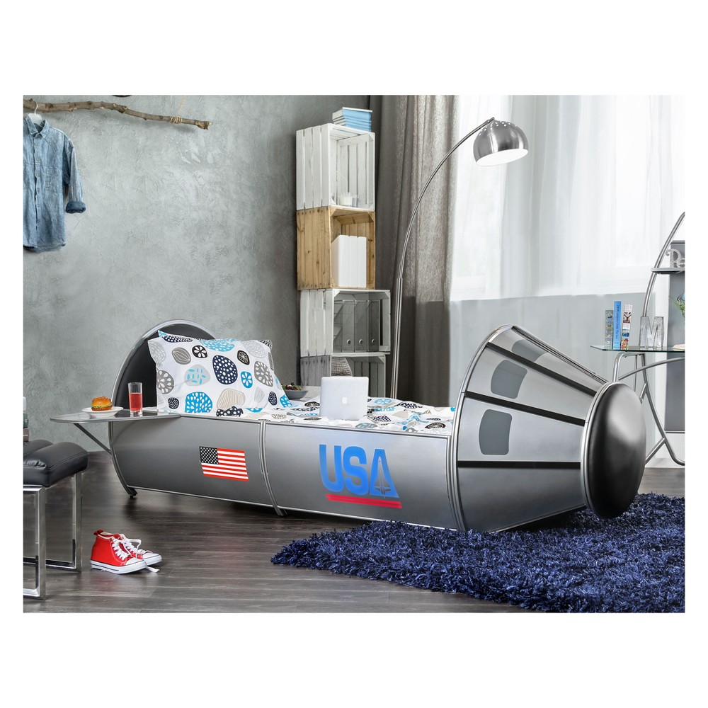 Iohomes Priolo Novelty Rocket Inspired Bed Silver Twin - Homes: Inside + Out