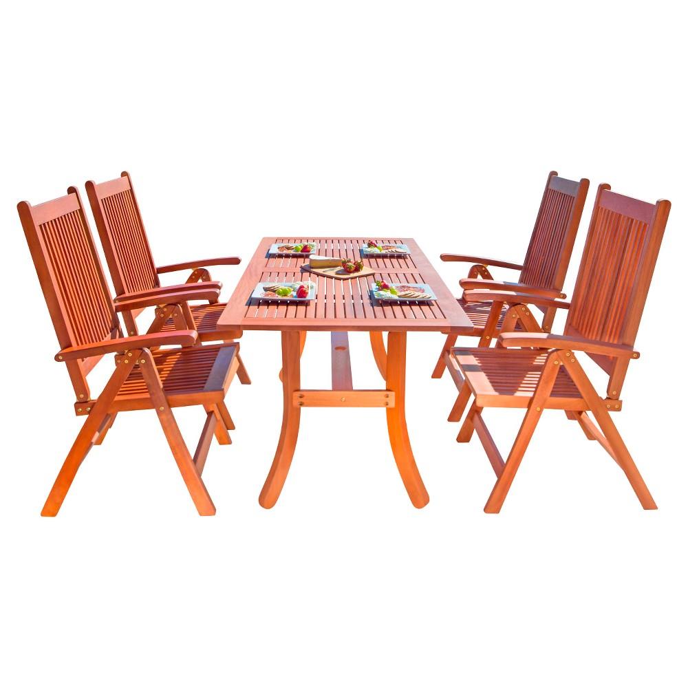 Vifah Malibu Eco-Friendly 5-Piece Wood Outdoor Dining Set - Brown