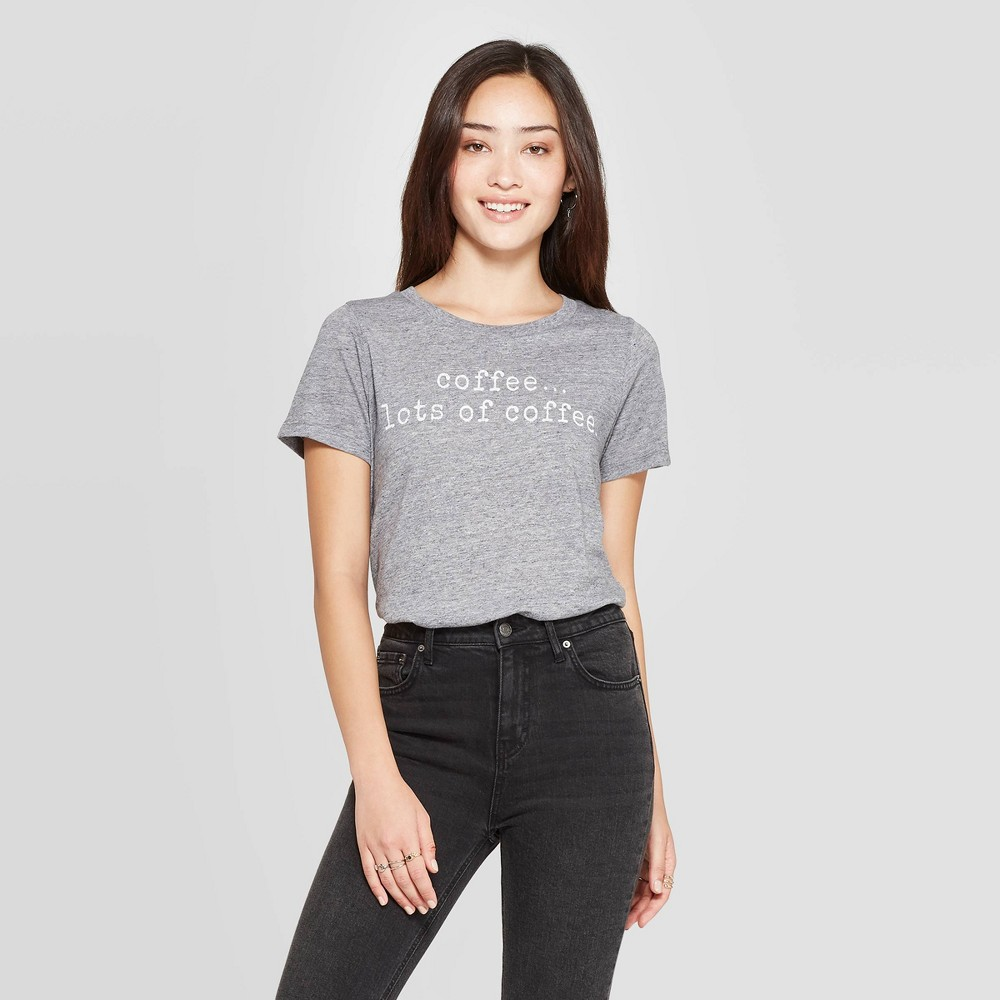 Image of Women's Coffee Lots Of Coffee Short Sleeve Graphic T-Shirt - Grayson Threads (Juniors') - Charcoal L, Size: Large