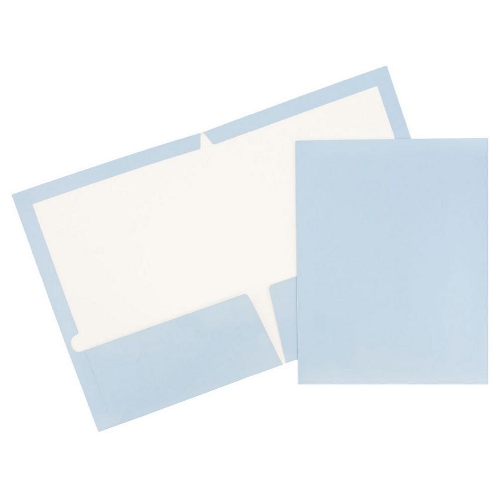 Jam 6pk Glossy Paper Folder 2 Pocket Light Blue