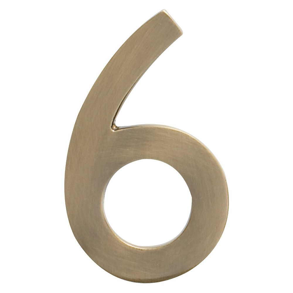 Architectural Mailbox 4 Cast Floating House Number 6 Antique Brass
