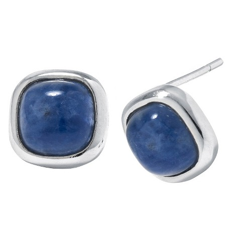 Sterling Silver Square Sodalite Stud Earrings - Blue/Silver - image 1 of 1