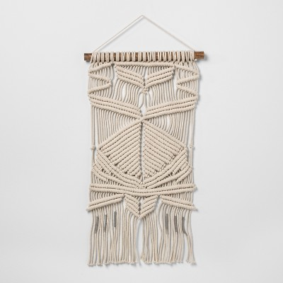 Woven Cotton Macrame Wall Tapestries Cream 16 x 26  - Opalhouse™